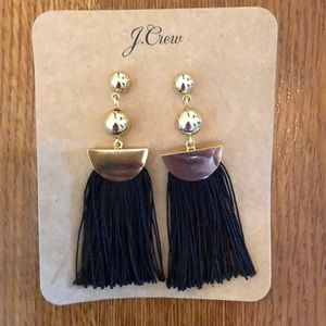 JCrew Black Tassel Gold Earrings NWT